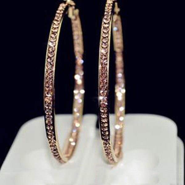 TOP popular earrings With rhinestone circle earrings Simple earrings big circle gold plated hoop earrings for women E005 - On Trends Avenue