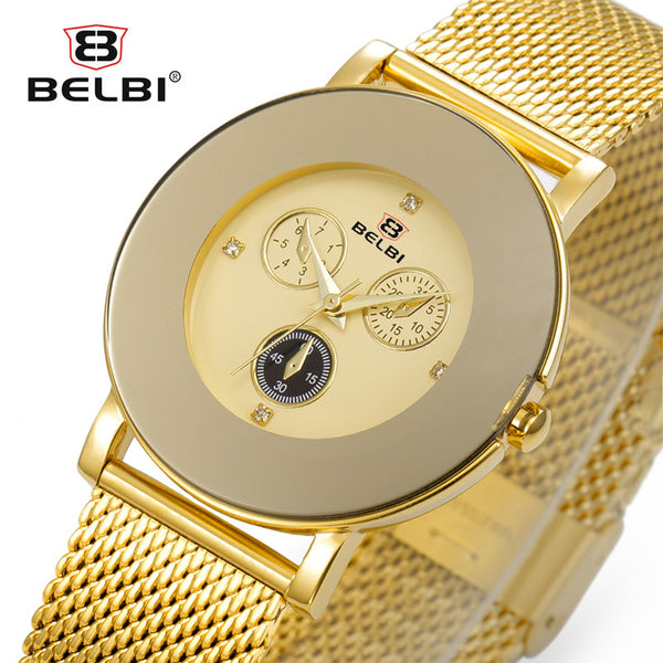 Belbi Top Brand Quartz Women Watch Female Hot Sale Fashion Steel Mesh Wrist Watch Ladies Gold Diamond Elegant Relojes Clock - On Trends Avenue