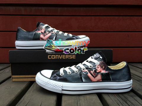 Low Original Converse Chuck Taylor Men Women Shoes The Walking Dead Custom Design Hand Painted Shoes Man Woman Canvas Sneakers