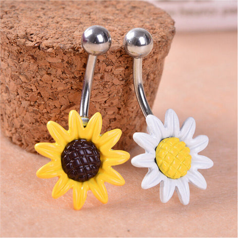New Arricel Sun Flower Medical Stainless Steel Piercing Belly Button Rings Body Piercing Navel Jewelry - On Trends Avenue