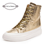 Casual Shoes Women Wedge High Heel Boots High Top Punk Ladies Casual Snickers Wedge Platform Shoes Gold Silver Black - On Trends Avenue