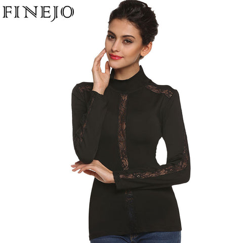 FINEJO Women Sexy Lace Blouse Long Sleeve Hollow Out Splicing Slim Pullover Turtleneck Top Bottoming Blouses Black Shirt - On Trends Avenue