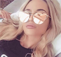 New Women 6 Colour Luxury Flat Top Cat Eye Sunglasses Women Twin Beam Sunglasses Double-Deck Alloy Frame UV400 M195 - On Trends Avenue
