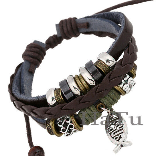 Leather bracelet New style fish jesus bracelets Handmade Bangle Jewelry men - On Trends Avenue