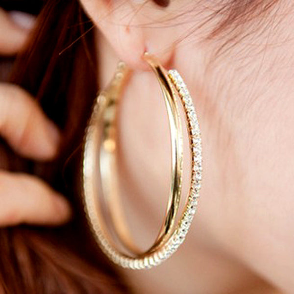 big hoop earring for women SALE Fashion Big Round Hoop Earrings Simple Pierced Silver/Gold 2 Colors For Evening Party #E008 - On Trends Avenue