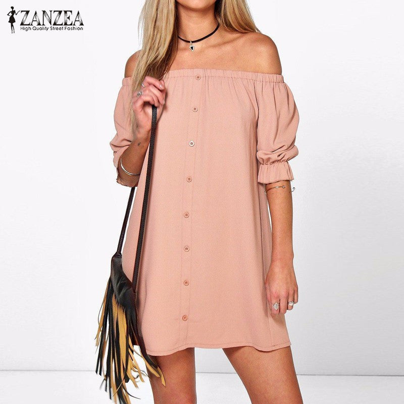 Available in Large Sizes ZANZEA Women Sexy Off Shoulder Mini Party Dress Casual Loose Half Sleeve Strapless Dresses Plus Size Long Tops - On Trends Avenue