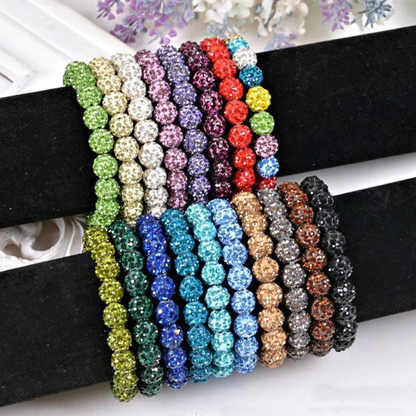 Fshion Shambala Beaded Jewelry Bracelets For Female Handmade Crystal Strand Shamballa Charm Bracelets Women(20 balls/pcs) - On Trends Avenue