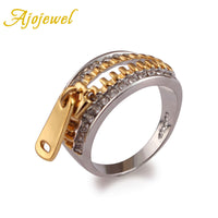 Ajojewel Brand Classical Design AAA CZ Diamond Gold Plated & White Gold Plated Sexy Zipper Rings For Women - On Trends Avenue