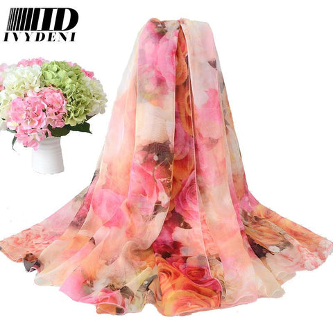 200*150cm Ladies Long Silk Chiffon Scarf  New Luxury Brand Flower Infinity scarf Women Designer  Scarf Summer Beach Cover Up - On Trends Avenue