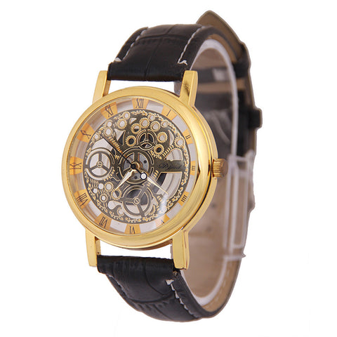 AttractiveMen PU Leather Mechanical Gear Watch  Relogios masculinos - On Trends Avenue