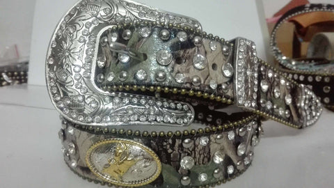 Western Camouflage Leather Rhinestone Crystal Camo horse ridding competition mexico and brazil hot selling round concho belt - On Trends Avenue