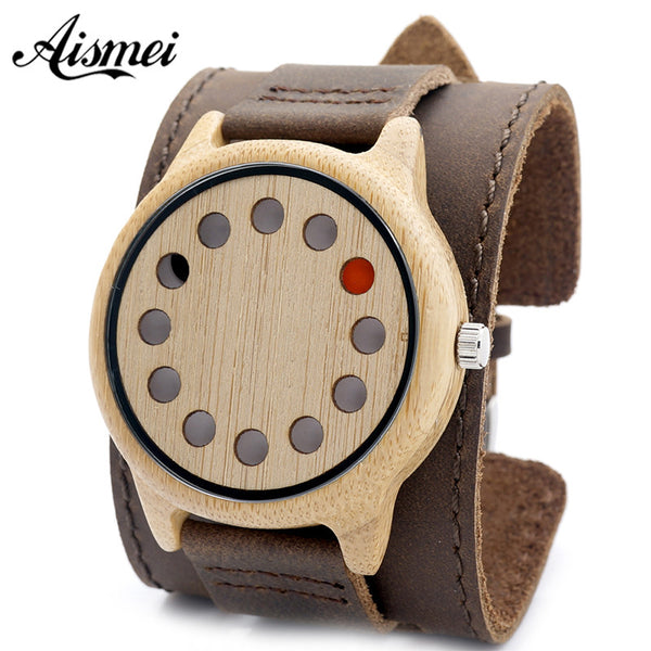 Punk style Mens Watches Top Brand Luxury Antique Bamboo Wooden 12 Holes Quartz Watches With big Real Leather Straps - On Trends Avenue
