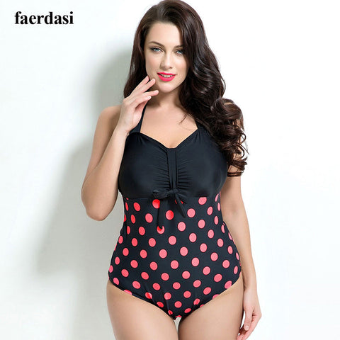 Plus size swimwear Polka Dot Bathing suit Push Up Halter women's swimsuits One Piece swimsuit women bodysuit large size swimwear - On Trends Avenue