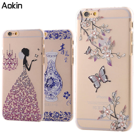 Aokin Pretty lady flowers Bling Phone case For IPhone 7 Plus Hard Plastic Case For IPhone 6 6s Plus 5s SE Drill Back Cover - On Trends Avenue
