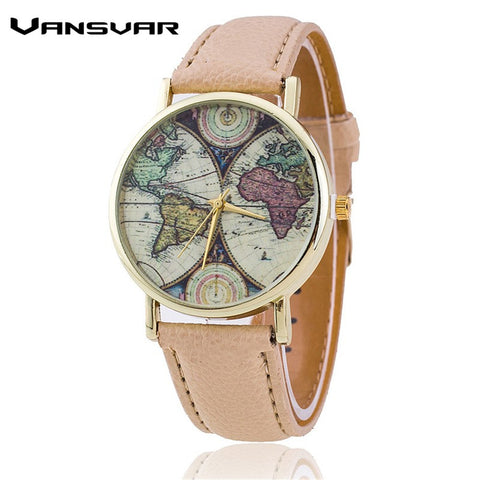 Vansvar Brand Fashion World Map Watch Casual Women Quartz Watch Relogio Feminino Gift 1539 - On Trends Avenue