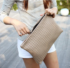 Kpop Fashion knitting women's clutch bag PU leather women envelope bags clutch evening bag Clutches Handbags black - On Trends Avenue