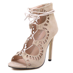 Women Pumps Brand Designer High Heels Cut Outs Lace Up Open Toe Party Shoes Woman Gladiator Sandals Women Ladies Zapatos Mujer - On Trends Avenue