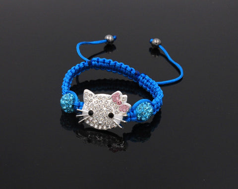 1pc kids hello kitty macrame shamballa bead bracelet / bangle with free shipping - On Trends Avenue