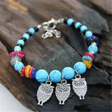 Bohemia Vintage Turquoise Pendant Bracelet Fashion Ethnic Style Charms Beads Stone Owl Bracelets Women Jewelry Pulseras H005 - On Trends Avenue