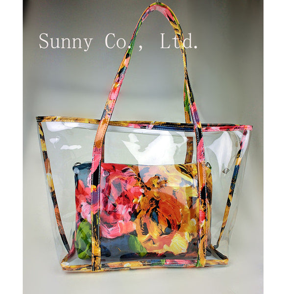 Fashion summer women floral composite bag clear plastic transparent beach bag PVC jelly bag big bag - On Trends Avenue
