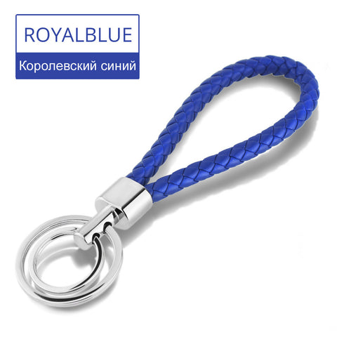 Faux Leather Braided Woven Double Rings Key Chain or Handbag Pendant 15 Colors - On Trends Avenue