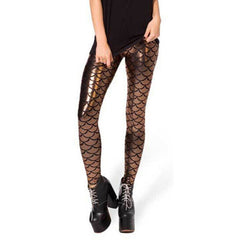 Women Holographic Mermaid Fish Scale Metallic Geometric Stretch Legging Pant - On Trends Avenue