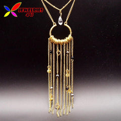 New jewelry gift fashion designer gold tassel geo false collar long pendant necklace for women Collier oiseau - On Trends Avenue