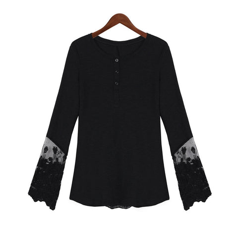 S-4XL Lace Patchwork Shirts Casual Long Sleeve O-Neck Blouse Tops - On Trends Avenue