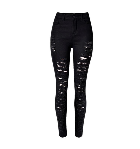 New Women's High Waist Ripped Jeans Individuality Style Hole Black Hollow Out Tight Pencil Pants - On Trends Avenue