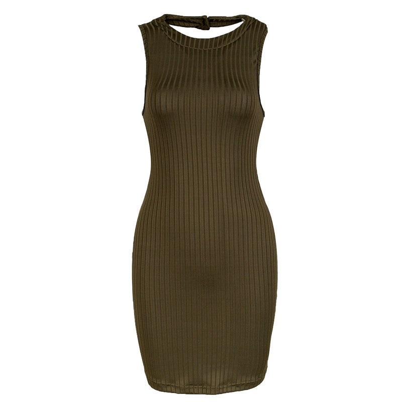 GD162 New S-L Womens Olive Green Stripped Halter Bodycon Dress Mini Club Party Dress - On Trends Avenue