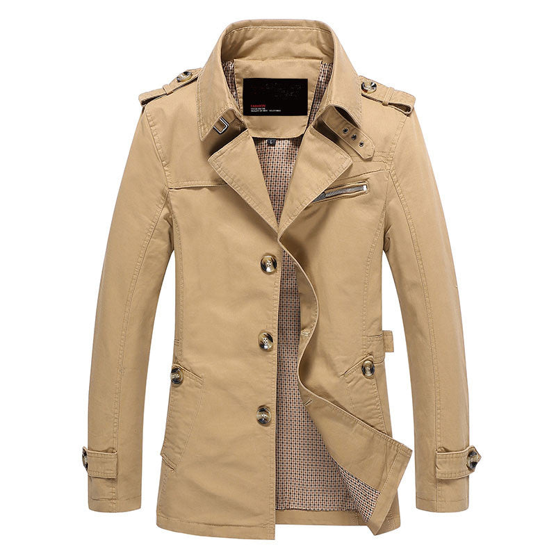 Men Jacket Coat Long Section Fashion Trench Coat Jaqueta Masculina Veste Homme Brand Casual Fit Overcoat Jacket Outerwear 5XL - On Trends Avenue