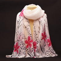 New Fashion Soft Chiffon Silk Scarf Women Flower Printed Cachecol Long Shawls and Scarves Wraps Echarpes Foulard - On Trends Avenue