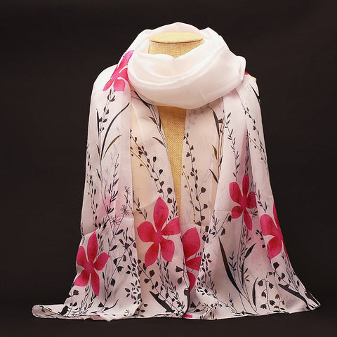 New Fashion Soft Chiffon Silk Scarf Women Flower Printed Cachecol Long Shawls and Scarves Wraps Echarpes Foulard Wholesale - On Trends Avenue