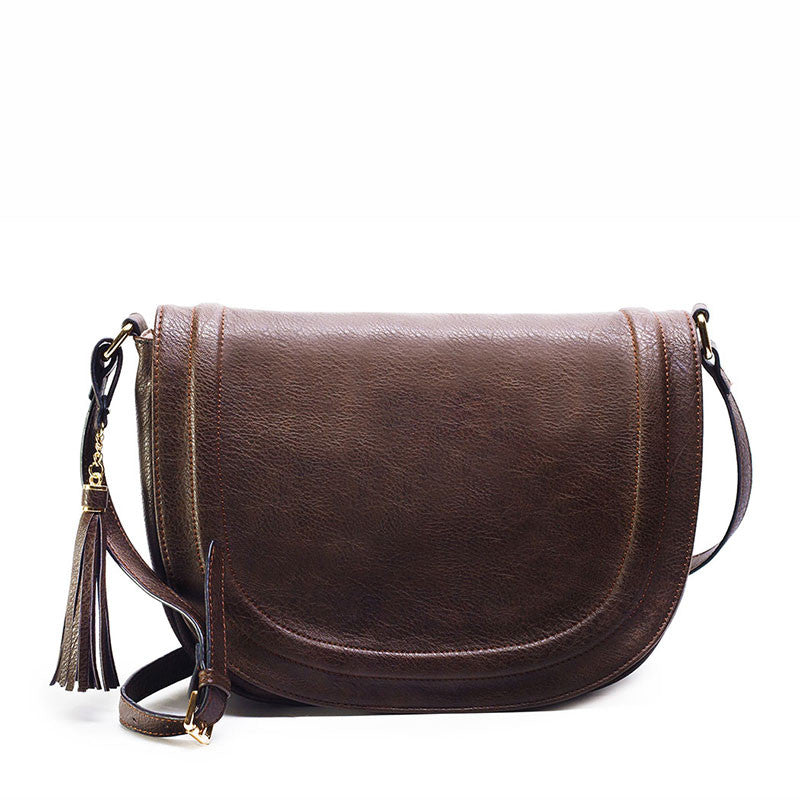 AMELIE GALANTI casual crossbody bag soft cover solid saddle tassel women messenger bags - On Trends Avenue