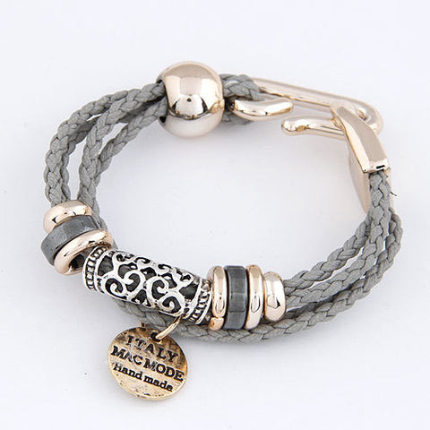 Fashion Punk Vintage Woven Metal Winding Braided Rope Leather Ribbon Chain Charms Bracelet &Bangle Women Jewelry Pulseras D160 - On Trends Avenue