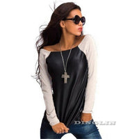 Fashion T Shirt Tops Women Black Long Sleeve Leather T-Shirt Casual Loose Boat Neck Tee Shirts Blusas CL2393 - On Trends Avenue