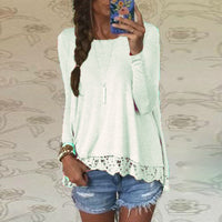 Available in Large Sizes ZANZEA Women Blusas Casual Loose Elegant T Shirt Long Sleeve Shirt Lace Crochet Embroidery Hem Female Tops Plus Size - On Trends Avenue