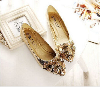 Available in Large Sizes  Rhinestone Flats Shoes Woman  Dress Flats Female Ballet Shoes PLUS SIZE 34-43 Comfort Rhinestones Casual Flats zapatos mujer - On Trends Avenue
