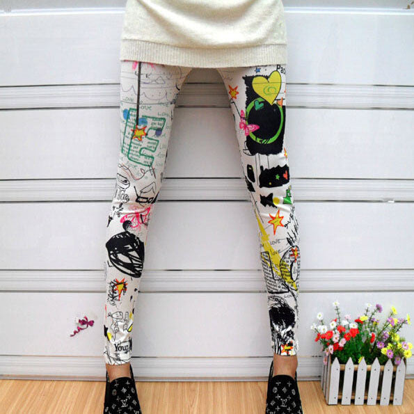 New Women Artitistic and Sunflower Stripes Star Print Thin Leggings Pants - On Trends Avenue