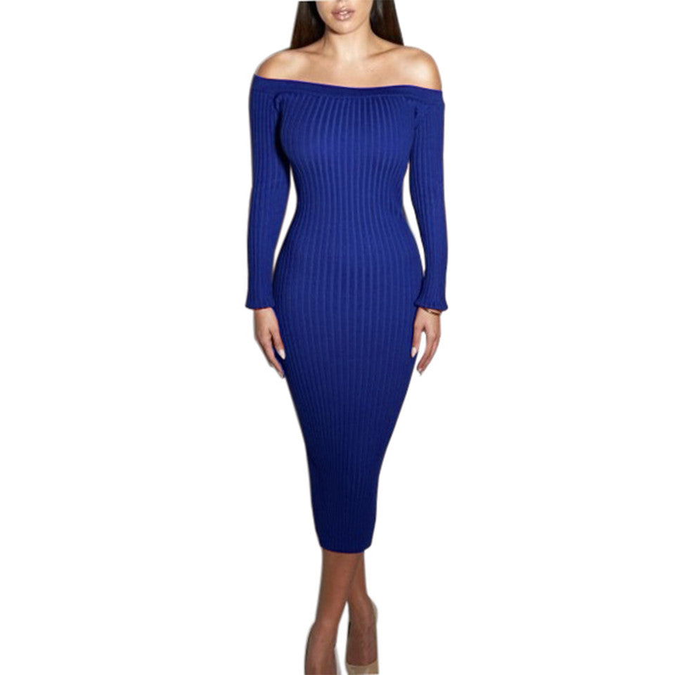 Fashion Long Sleeve Off Shoulder Slash Neck Sexy Club Women Dress Slim Bodycon Knitted Sweater Knee-Length Party Night Dresses - On Trends Avenue