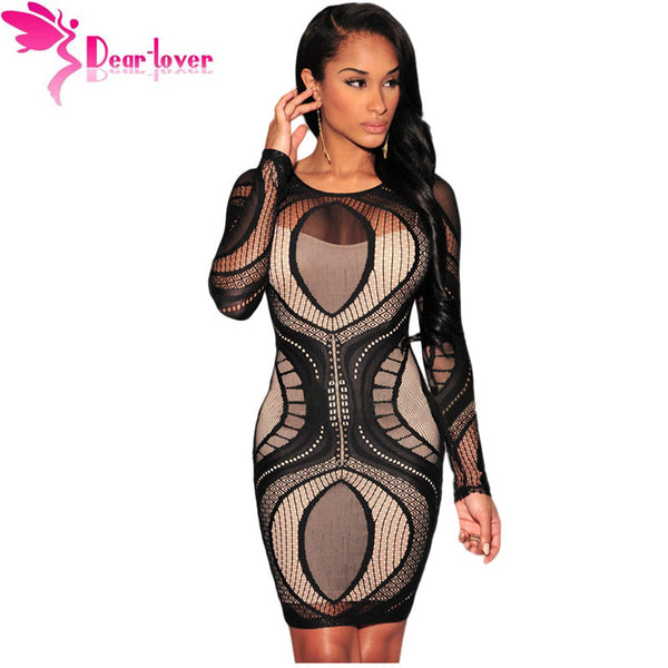 5 Color Royal Blue Lace Nude Illusion Long Sleeve Body-con Dress - On Trends Avenue
