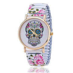 Skull Quartz Wrist Watch for Lady Gift With Flower Pattern on Band - On Trends Avenue