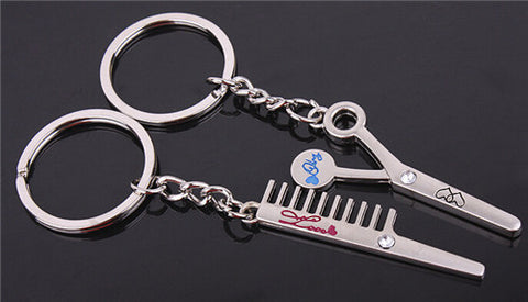 Silver Plated Kiss Love Heart Couple Key Ring Keychain  Comb Scissor Whistle Hat - On Trends Avenue