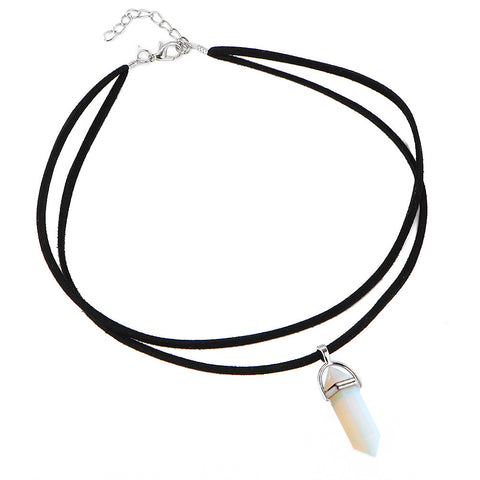 4 Colors Black Leather Natural Stone Tattoo Choker - On Trends Avenue