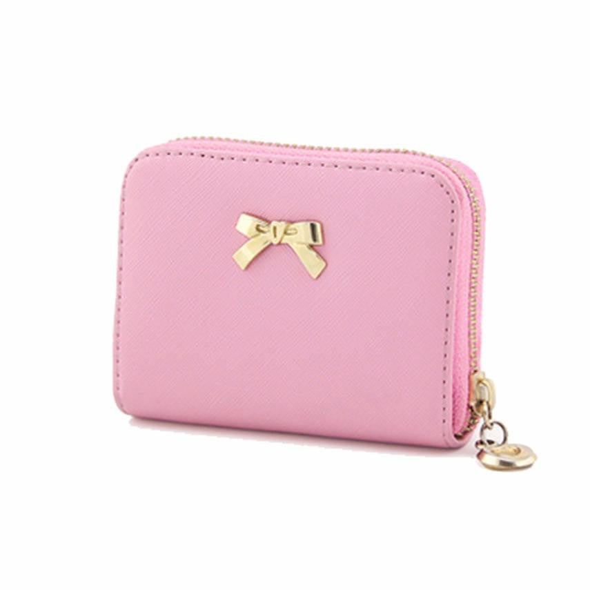 Women Wallet Bowknot Zipper Coin Purse Wearable Short Wallet Handbag Female Wallet Women Clutch Purses Carteira Feminina - On Trends Avenue
