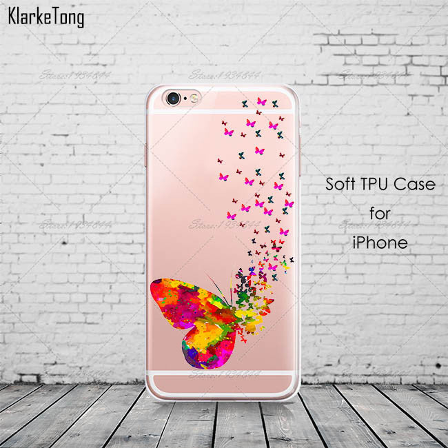 Watercolor Butterfly Pink Love Heart Case For iphone 6 6s 5 5s se 7 7Plus Transparent Silicon Protective Cell Phone Cases Cover - On Trends Avenue