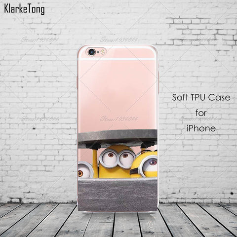 Cute Despicable Me Yellow Minion Design Cover Sofe Minions Case For iphone 6 6s 5 5s SE 7 plus Transparent Silicone Coque Fundas - On Trends Avenue