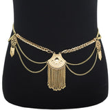 Gold Boho Belt Tassel Metal belly chain Belt Dance Bohemian Ethnic Body Chain Women Turkish Body Jewelry - On Trends Avenue