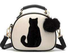 Vogue Star Cat Printing Bag Ladies Crossbody Bags Circle Women Leather Handbags with Fur Ball Women Messenger Bag LS499 - On Trends Avenue