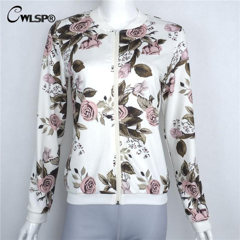 Autumn Fashion Bomber Jackets Coats Women Flower Print Women Slim Basic Coats Outwear New Style jaqueta feminina White QL2674 - On Trends Avenue